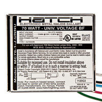 Hatch MC70-1-J-UNNU - 70 Watt - Electronic Metal Halide Ballast - ANSI M98/M139/M143 - 120/277 Volt - Power Factor 95% - Max. Temp. Rating 176 Deg. F - Bottom Feed Mounting With Studs
