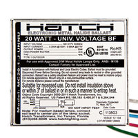 Hatch MC20-1-J-UNNU - 20 Watt - Electronic Metal Halide Ballast -Bottom Feed With Studs