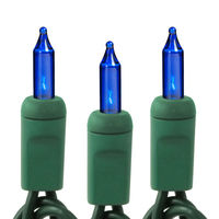 11.5 ft. Stringer - (35) Mini Lights - BLUE - 3 in. Bulb Spacing - Green Wire - Commercial Duty - 120V