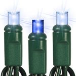 Twinkling Blue and White LED String Lights - 12 ft. - Green Wire - 5mm Wide Angle - 35 Bulbs Image