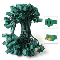 25 ft. Stringer - (25) C7 Candelabra Sockets - 12 in. Spacing - Green Wire - SPT-1 - 18 AWG - Male to Female Connections - Commercial Duty - Indoor/Outdoor