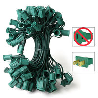 100 ft. Stringer - (100) C7 Candelabra Sockets - 12 in. Spacing - Green Wire - SPT-1 - 18 AWG - Male Only Connections - Commercial Duty - Indoor/Outdoor