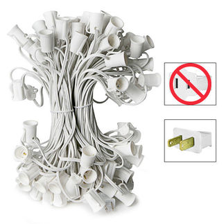 C7 Stringer - 100 Foot - 100 Sockets - 12 in. Spacing - White Wire - Commercial Christmas Lights - HLS C7100W C7 Stringer