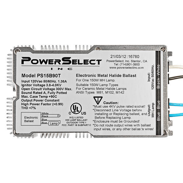 PowerSelect PS15B90T - 150 Watt - Pulse Start Metal Halide Ballast Image