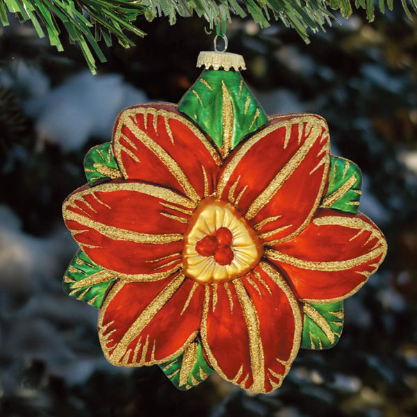 Antique Poinsettia Christmas Ornament Image