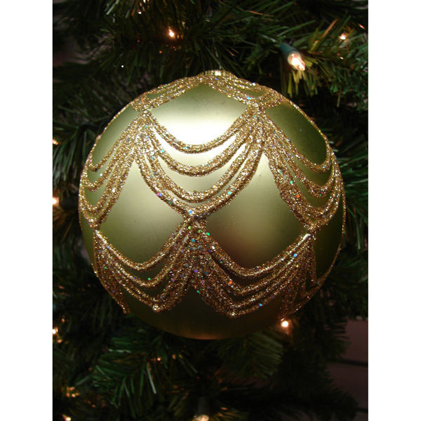 Draped Glitter Ball Christmas Ornament Image