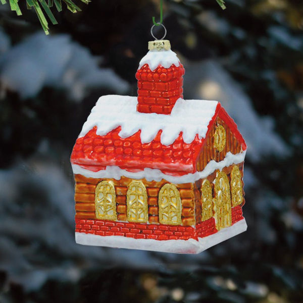 Log Cabin Christmas Ornament Image