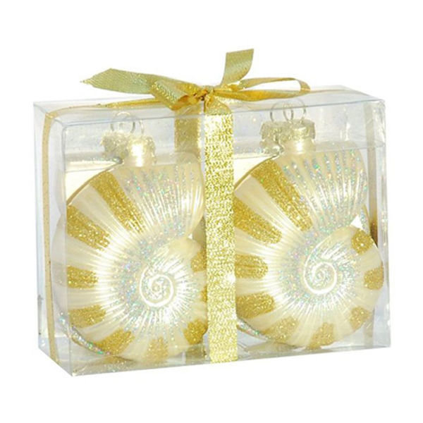 Striped Nautilus Shell Christmas Ornament Image