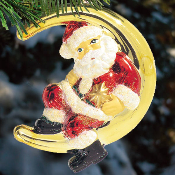 Santa on the Moon Christmas Ornament Image