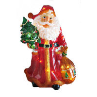 Illuminated - Christmas Santa with Toy Sack Decoration - 36.5 in. - Red and White - Fiberglass