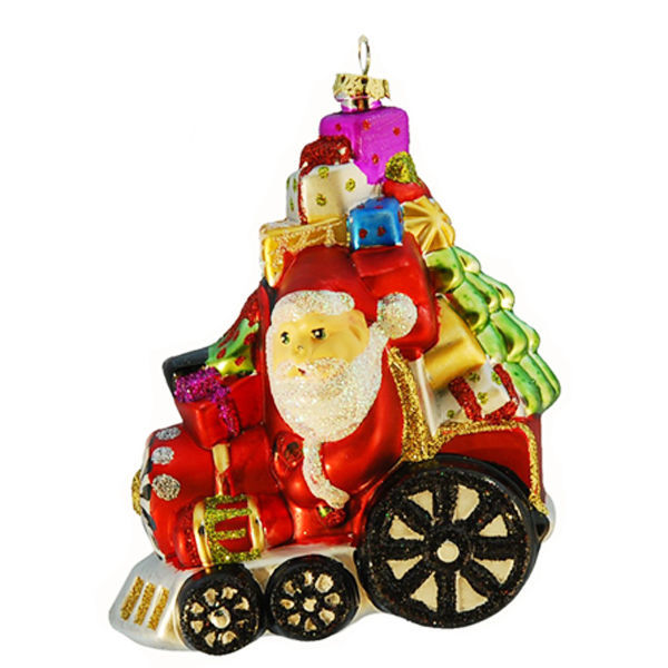 Santa on Train Christmas Ornament Image