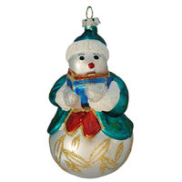 Snowman Caroler Christmas Ornament - Shatterproof - 5 in. - Antique White - 2 Pack