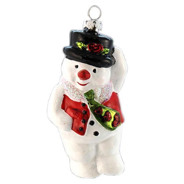Snowman with a Tie Christmas Ornament Image