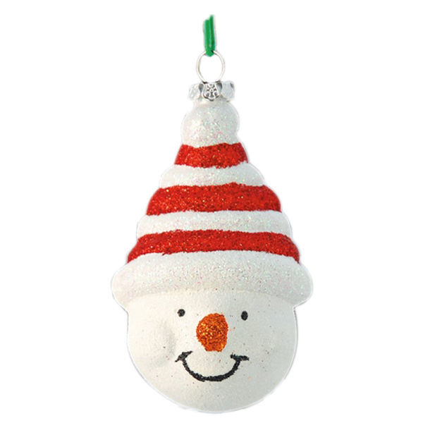 Glitter Snowman Head Christmas Ornament Image