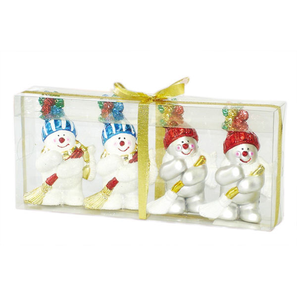 Sweeping Snowman Christmas Ornament Image