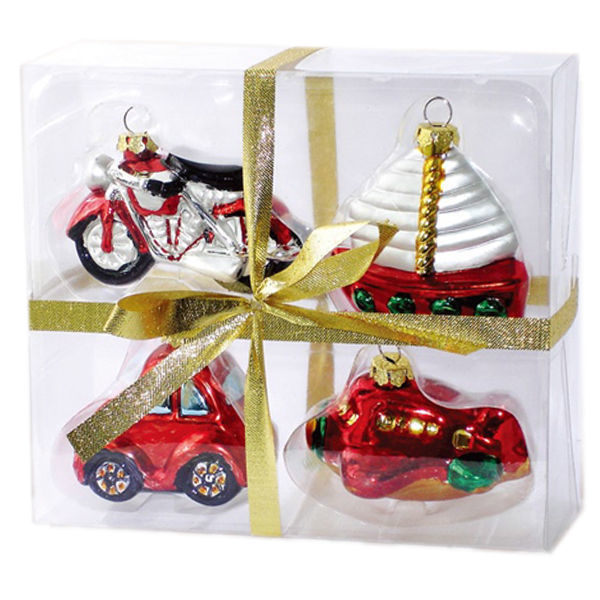 Assorted Vehicle Christmas Ornaments Image