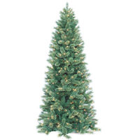 7.5 ft. x 57 in. - Slim Cashmere Fir - 1996 Classic Tips - 700 Clear Incandescent Mini Lights - Barcana Artificial Christmas Tree