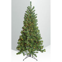 4 ft. x 32 in. - Around Corner Three Quarter Tree - 282 Classic Tips - 150 Clear Incandescent Mini Lights - Barcana Artificial Christmas Tree