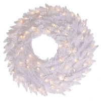 24 in. Christmas Wreath - Classic PVC Needles - Winter Wonderland White Fir - Pre-Lit with Clear Mini Lights  - Vickerman K120325