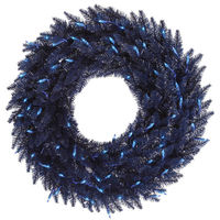 60 in. Christmas Wreath - Classic PVC Needles - Midnight Blue Fir - Pre-Lit with Blue Mini Lights  - Vickerman K120761