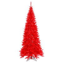 5.5 ft. x 30 in. - Slim Red Fir - 722 Classic Tips - 300 Red Incandescent Mini Lights - Vickerman Red Christmas Tree