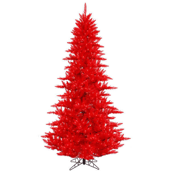 7.5 ft. x 52 in. Red Christmas Tree Image