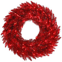 48 in. Christmas Wreath - Classic PVC Needles - Red Tinsel Fir - Pre-Lit with Red Mini Lights  - Vickerman K125248