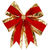 24 in. Red Velvet Structured Bow with Gold Trim
