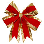 24 in. Red Velvet Structured Bow with Gold Trim Image