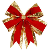 24 in. Red Velvet Structured Bow with Gold Trim - Vickerman L696530