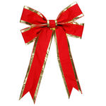 36 in. Red Velvet Bow with Gold Trim Image