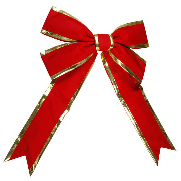 60 in. Red Velvet Bow with Gold Trim Image