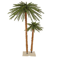 6 ft. - Christmas Palm Tree Set - 113 Classic PVC Tips - 400 Clear Mini Lights  - Vickerman K129164
