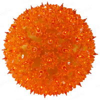 Orange Starlight Sphere - Utilizes 50 Mini Lights - 6 in. dia. - Green Wire - Indoor/Outdoor - 120 Volt