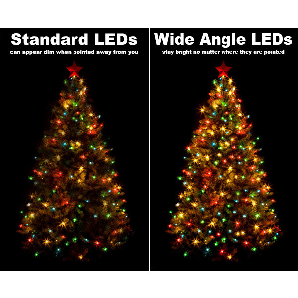 battery operated led wide angle lights gold - Led Warm White Christmas Lights