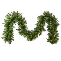 50 ft. Christmas Garland - Cashmere Pine - 1488 Realistic Molded Tips - Pre-Lit with LED Warm White Bulbs - Vickerman A118317LED