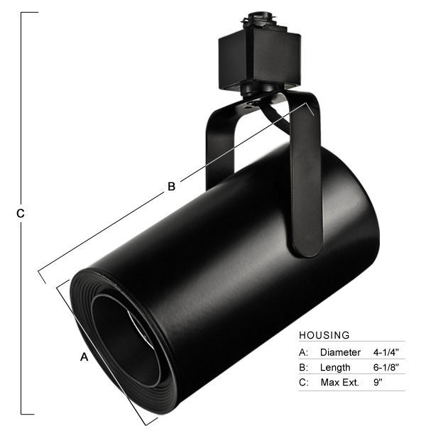 Nora NTL-222B - Flat Back Cylinder Low Voltage Track Fixture - Black Baffle - Black Image