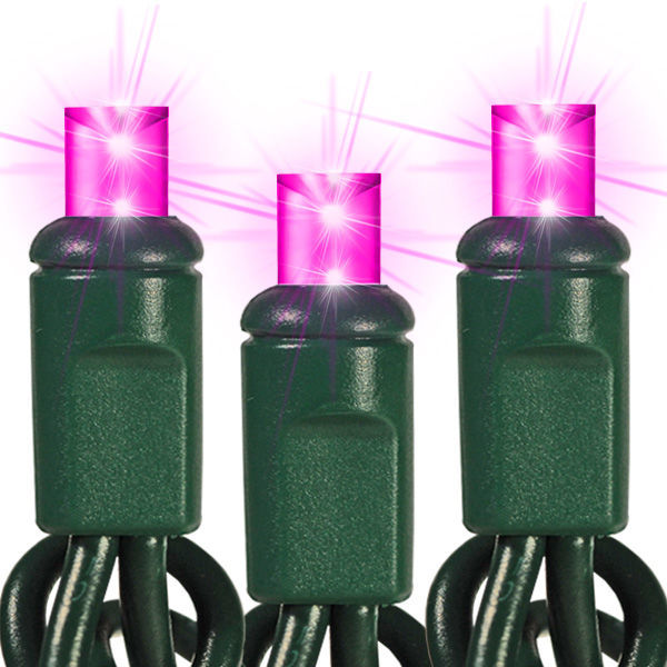 24 ft. Stringer - (48) Bulbs - LED - Pink Wide Angle Mini Lights Image