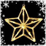 (24) Bulbs - LED - Illuminated Crystal Star - Warm White Wide Angle Mini Lights Image