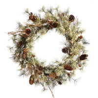 4 ft. Christmas Wreath - Green - Dakota Alpine - 150 Clear Mini Lights - 150 Tips - Vickerman B115548