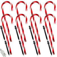 8 Candy Cane Path Markers - Red and White - 8 Function Controller Included - Incandescent Mini Lights - 120 Volt