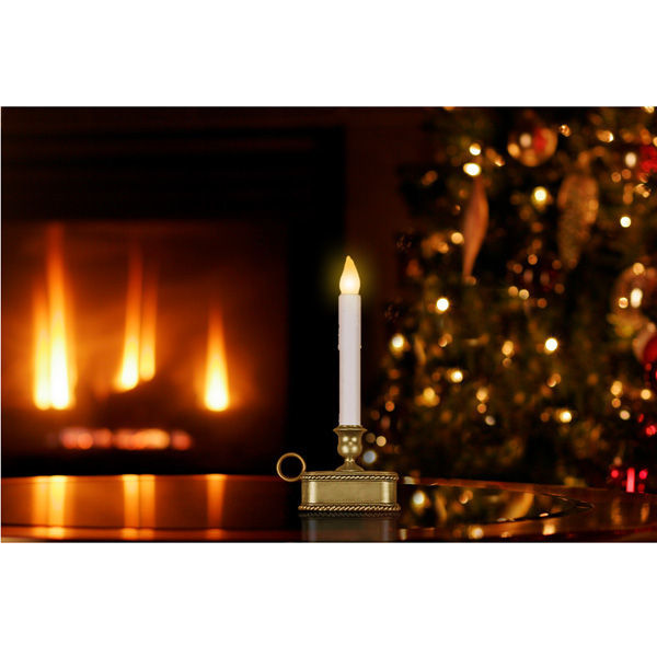 9 in. ht. - WHITE - LED - Christmas Candle Image