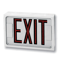 LED - White Steel - Double Face Direct View Exit Sign - Red Letters - 120/277 Volt - Exitronix 503-LB-WH