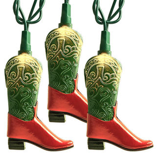 (10) Bulbs - Green/Red Cowboy Boot Lights - Length 9.75 ft. - Bulb Spacing 12 in. - Green Wire - 120V