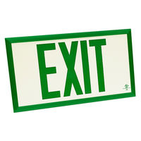 Single Face - Photoluminescent Exit Sign - Green Letters - 75 ft. Viewing Distance - Green Frame - Fulham FLPL75SGG