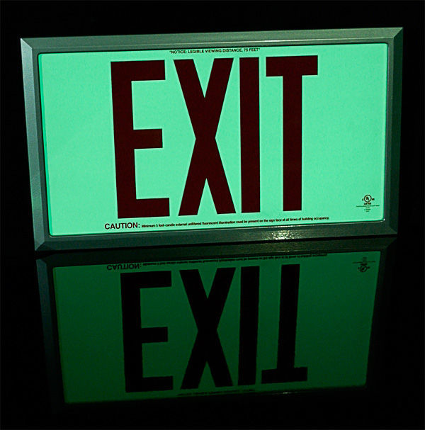 Single Face - Photoluminescent Exit Sign Image