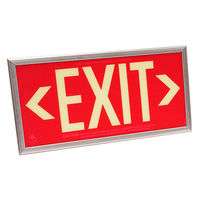 Single Face - Photoluminescent Exit Sign - Red - 50 ft. Viewing Distance - Silver frame - 20 Year Effective Life - Fulham FLPL50SRS