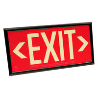 Single Face - Photoluminescent Exit Sign - Red - 50 ft. Viewing Distance - Black frame - 20 Year Effective Life - Fulham FLPL50SRB