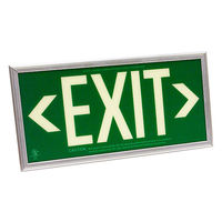 Single Face - Photoluminescent Exit Sign - Green - 50 ft. Viewing Distance - Silver Frame - 20 Year Effective Life - Fulham FLPL50SGS