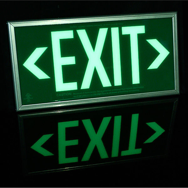 Single Face - Photoluminescent Exit Sign - Green Image